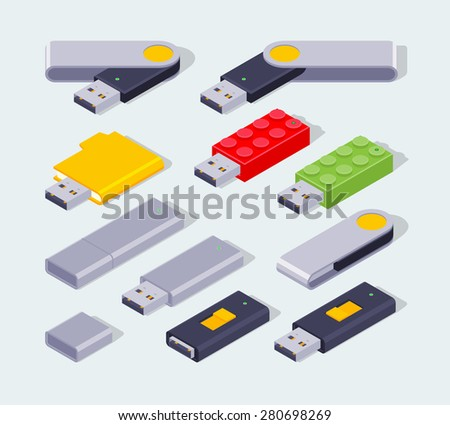 Set of the isometric USB flash-drives. The objects are isolated against the pale-blue background and shown from one side - stock vector