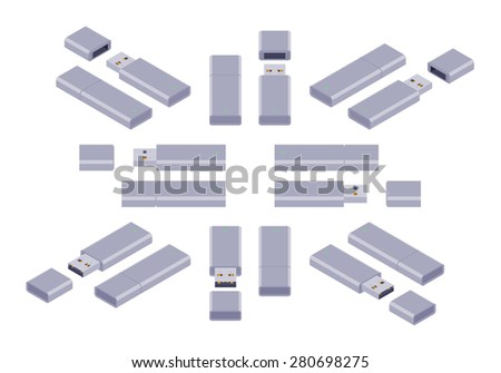 Set of the isometric USB flash-drives. The objects are isolated against the white background and shown from different sides - stock vector