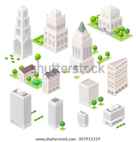 Set of the isometric vector elements. Skyscrapers, trees and other ?ity buildings. - stock vector