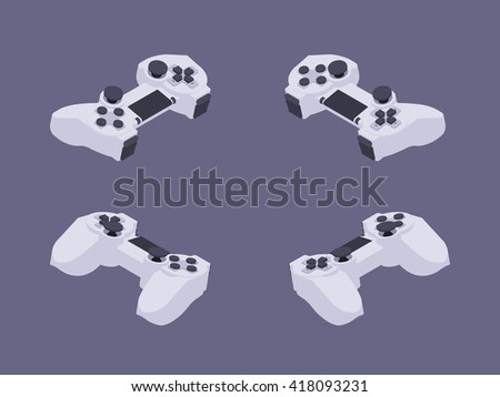 Set of the isometric white gamepads. The objects are isolated against the dark-violet background and shown from different sides - stock vector