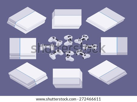 Set of the isometric white nextgen gaming consoles. The objects are isolated against the dark-violet background and shown from different sides - stock vector