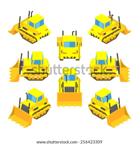 Set of the isometric yellow bulldozers. The objects are isolated against the white background and shown from different sides - stock vector