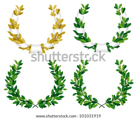 Set of the laurel and oak wreaths with green and bronze leaves - stock vector