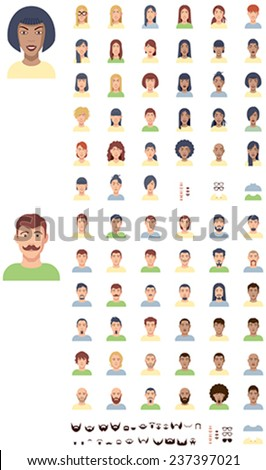 Set of the male and female faces - stock vector