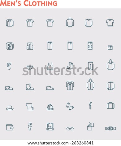 Set of the men clothes icons - stock vector