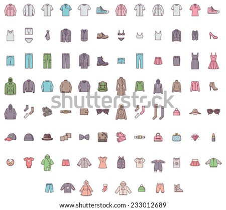 Set of the men, women and baby clothes  - stock vector