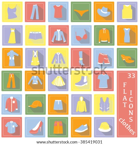Set of the modern flat fashion icons and accessories. Colorful collection for business and office items, web design objects, interface elements - stock vector