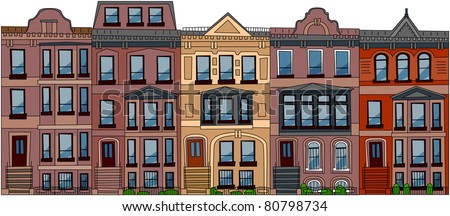 Set Of The Old American City Abstract Buildings 3 Series Cartoon