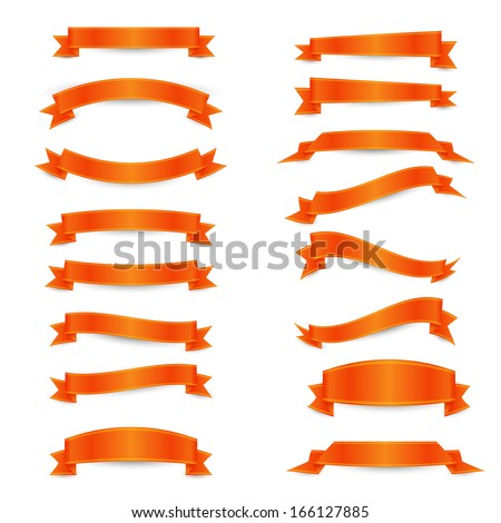 Set of the orange ribbons with yellow straights on the white background. You can use as an elements  for creation your own design - stock vector