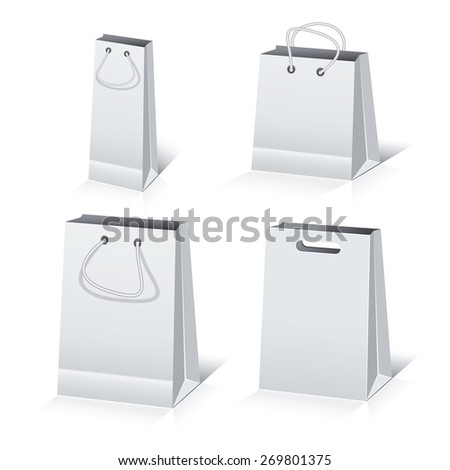 Set of the paper shopping bags isolated on white background - stock vector