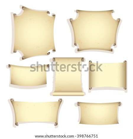 Set of the retro scrolls. Vector illustration - stock vector