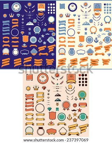Set of the ribbons, tags, labels and other elements - stock vector