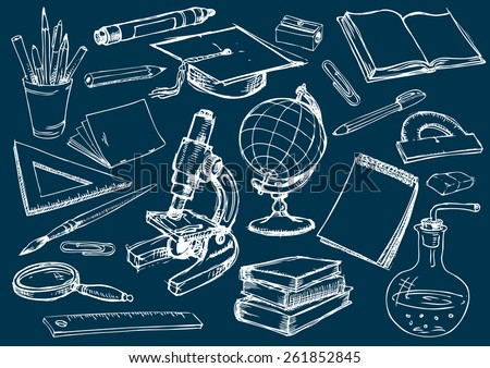 Set of the school and education items. Drawing in the freehand style. Vector illustration - stock vector