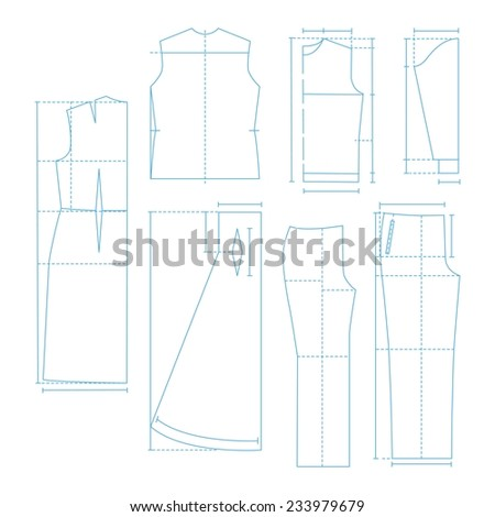 Set of the sewing patterns - stock vector