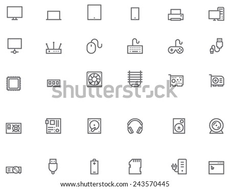 Set of the simple computer related glyphs - stock vector