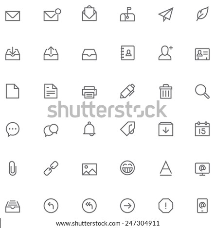 Set of the simple mail related glyphs - stock vector