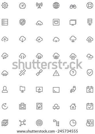 Set of the simple network and cloud services related glyphs - stock vector