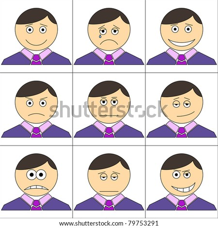 Set of the smilies symbolising various human emotions: men of business change in suits and ties - stock vector