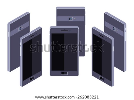 Set of the standing isometric generic black smartphones. The objects are isolated against the white background and shown from different sides - stock vector
