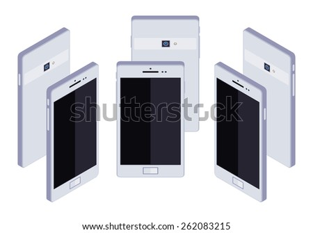 Set of the standing isometric generic white smartphones. The objects are isolated against the white background and shown from different sides - stock vector