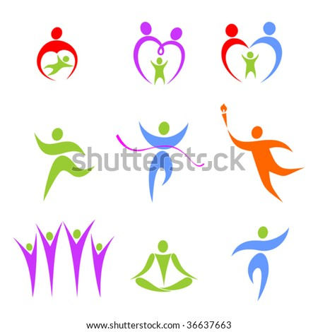 Set of the stylized figures on a theme sports and a family