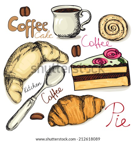 set of the tea and coffee accessories, dessert, drawing - stock vector