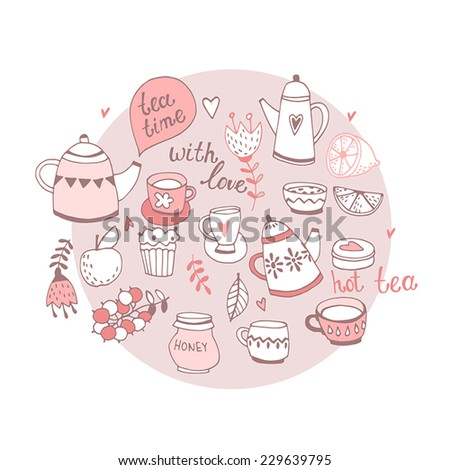 Set of the tea time elements.Tea and Cake background.