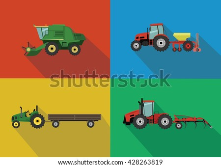 Set of the tractors and harvesters. Agricultural illustration in flat design style vector. - stock vector