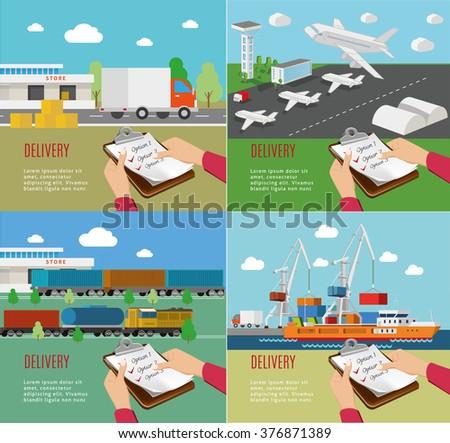 Set of the transportation illustrations. Flat vector design. - stock vector
