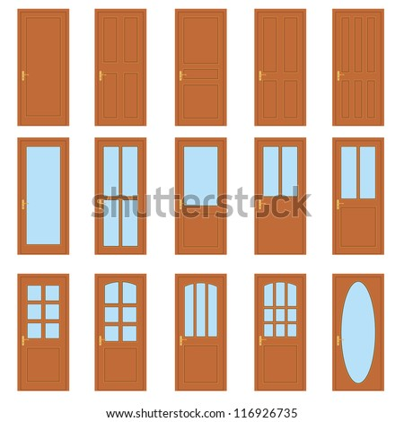 Set of the various doors on the white background. - stock vector