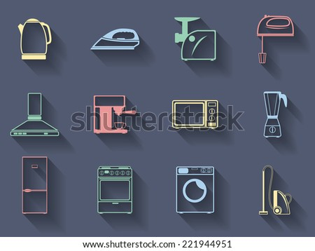 Set of the vector household appliances icons - stock vector