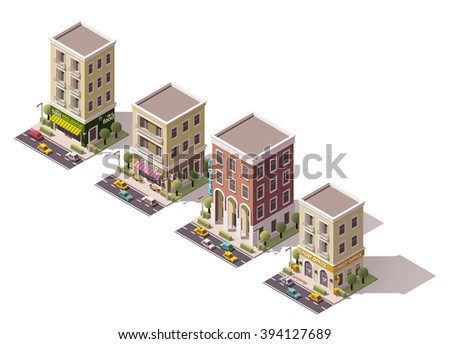 Set of the vector isometric town buildings icon set or infographic elements set representing houses, hotel, homes with stores and shops - stock vector