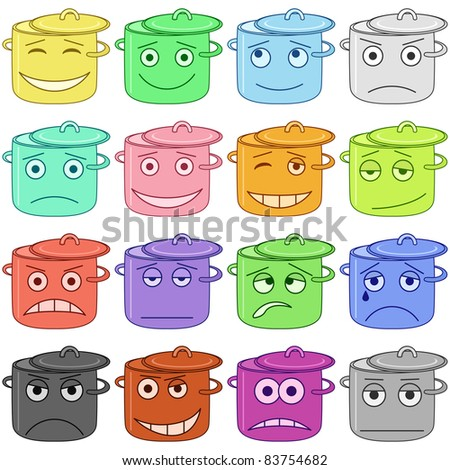 Set of the vector pans smiles symbolizing various human emotions - stock vector