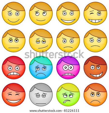 Set of the vector round smilies symbolising various human emotions - stock vector