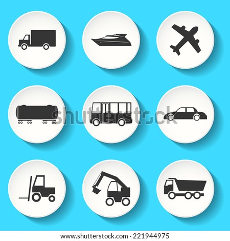 Set of the vector transportation icons - stock vector
