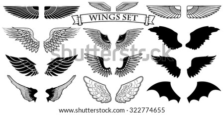 Set of the vector wings. Logo design templates.