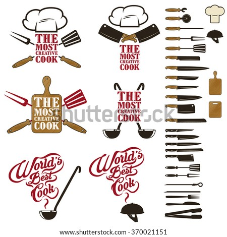Set of the World's best cook, Most creative cook and design elements.. Design elements for logo, label, emblem,  insignia, sign, identity, logotype, poster. - stock vector
