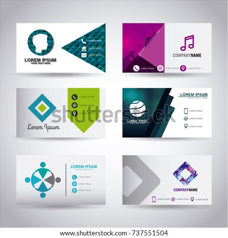 Set themed business card presentation templates stock vector set of themed business card presentation templates wajeb Images