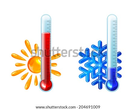 Set of thermometers with red and blue indicator isolated on white background, illustration. - stock vector