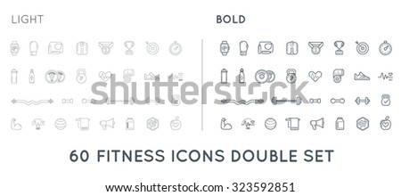 Set of Thin and Bold Vector Fitness Aerobics Gym Elements and Fitness Icons Illustration can be used as Logo or Icon in premium quality