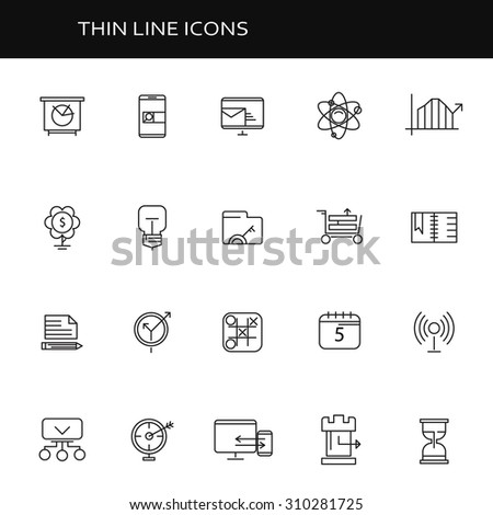 Set of thin flat business vector icons for your design. Creative solution. Can be used for different materials