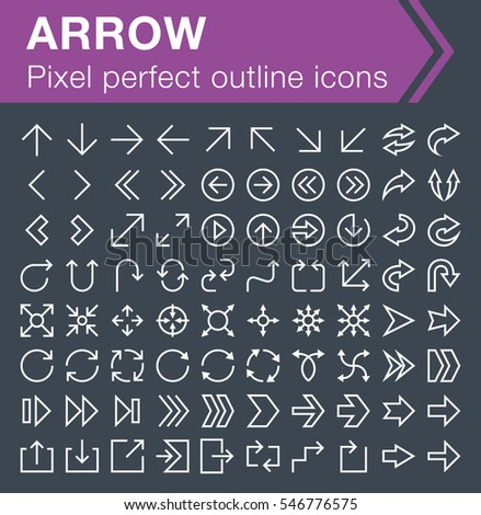 Set of thin line arrow icons for mobile apps and web design.  Pixel perfect trendy thin line icons. Editable stroke.