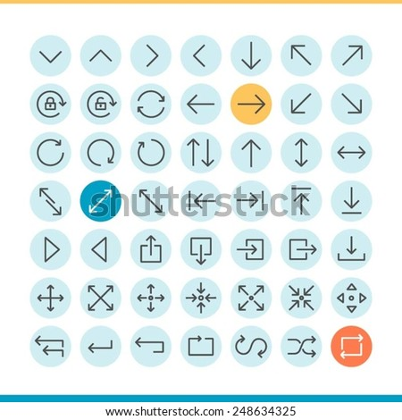 set of thin line arrow icons, vector illustration - stock vector