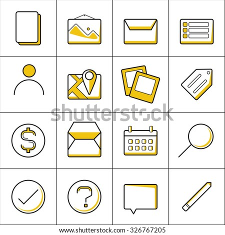 Set of Thin Line Colored Icons for Web and Mobile - stock vector