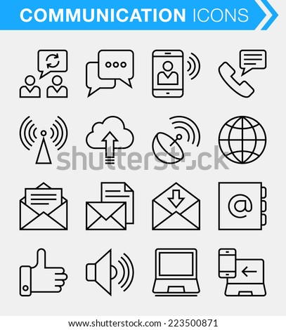 Set of thin line communication icons. - stock vector