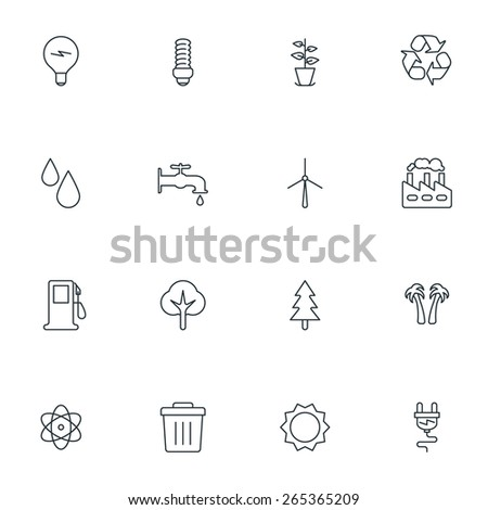 Set of Thin Line Ecology and Environment Icons. Vector Illustration - stock vector