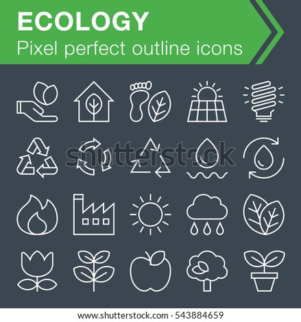 Set of thin line ecology icons for mobile apps and web design.  Pixel perfect trendy thin line icons. Editable stroke.