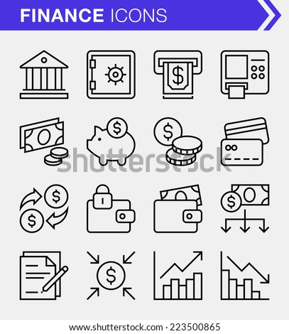 Set of thin line finance and banking icons. - stock vector