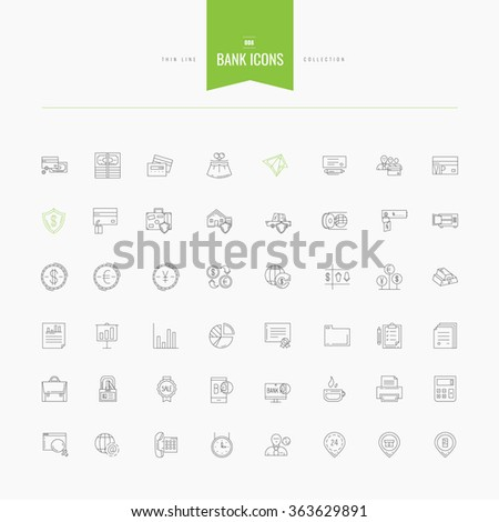 set of thin line flat bank, money and finance icons, vector illustration - stock vector