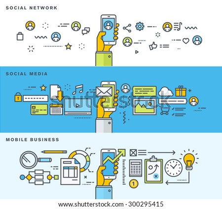Set of thin line flat design banners for social network, social media, mobile business. Vector illustrations for web banners and promotional materials.     - stock vector